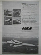 12/1975 PUB MBB JUMBO AIR TO GROUND GUIDED MISSILE ROLAND MAMBA MILAN HOT AD