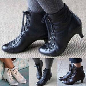 Women Ladies Low Kitten Heel Ankle