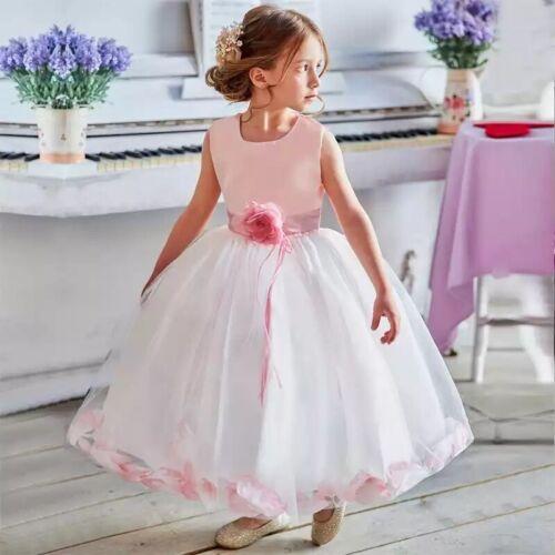 Flower Girl Formal Dress Christening Birthday Baby Bridesmaid Gown FREE Headband