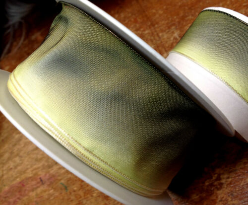"""FRENCH RIBBON OMBRE 1yd YELLOW GREEN MOSS VINTAGE 7//8/"""" or 1.5/"""" 2 sizes"""