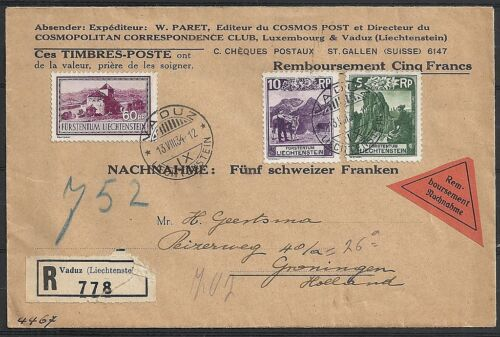 Liechtenstein covers 1934 mixed franked R-cover to Groningen