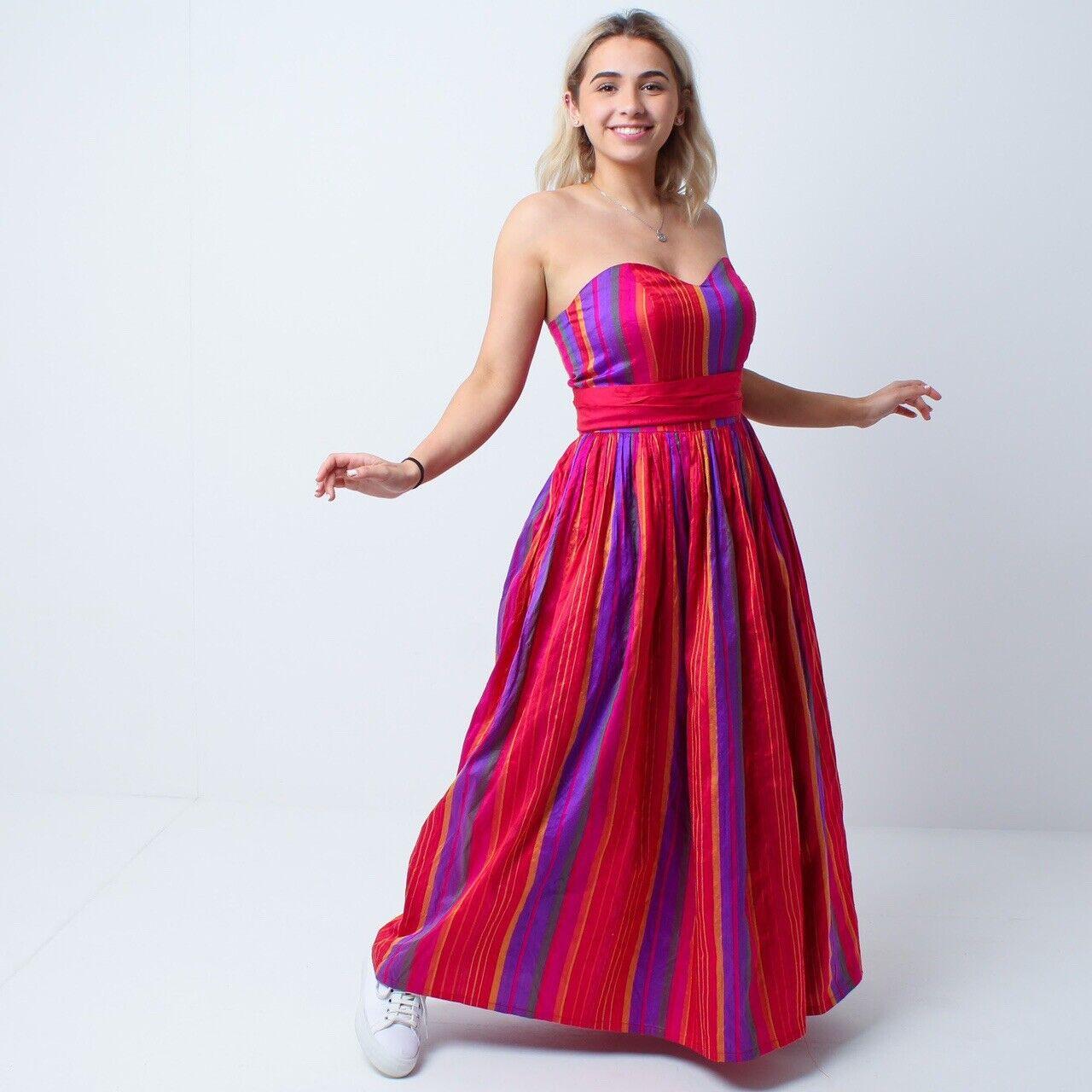 Monsoon Twilight Rainbow Stripe Silk Taffeta Evening Prom Pride Dress Ballgown S