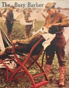 Postcard-1925-Busy-Barber-Soldier-Army-War-Camp-Vintage-London-England-P33