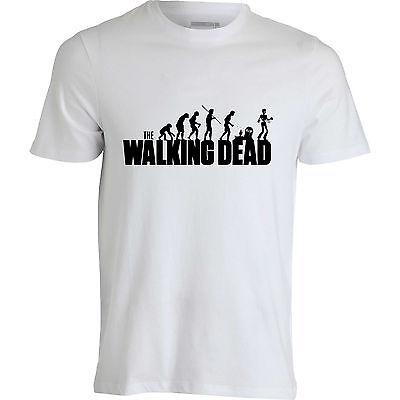 Walking dead zombie evolution living dead Halloween scary men top white T shirt