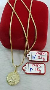 GoldNMore-18K-Gold-Necklace-and-Pendant-16-inches