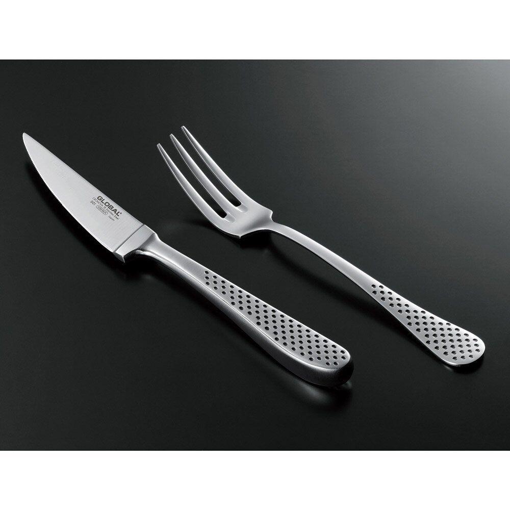 GLOBAL STEAK KNIFE & FORK GTJ-01 Acier Inoxydable Haute Qualité Japan F S du Japon