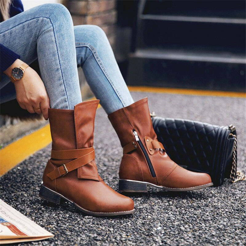 Plus Size Womens Round Toe Retro Mid Calf Boots Chunky Heel shoes Buckle Booties