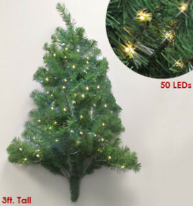 Details About Wall Mounted Christmas Tree 3 Foot Pre Lighted No Embly Required 50 Lights