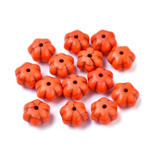 50x 12mm Synthetic Turquoise Stone Beads Halloween Pumpkin Orange Loose Spacers