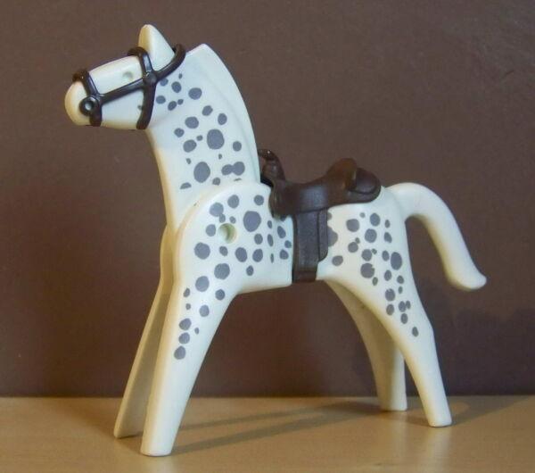 2019 DernièRe Conception Playmobil (b8136) Western - Cheval Blanc Tacheté Gris Pour Cowboys Soldats Facile Et Simple à Manipuler