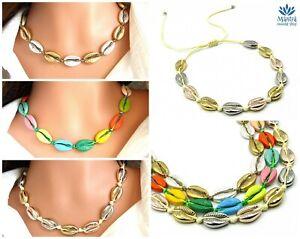 rivenditore di vendita b6730 98623 Dettagli su Collana da donna con conchiglie corda cordino girocollo in per  regolabile oro