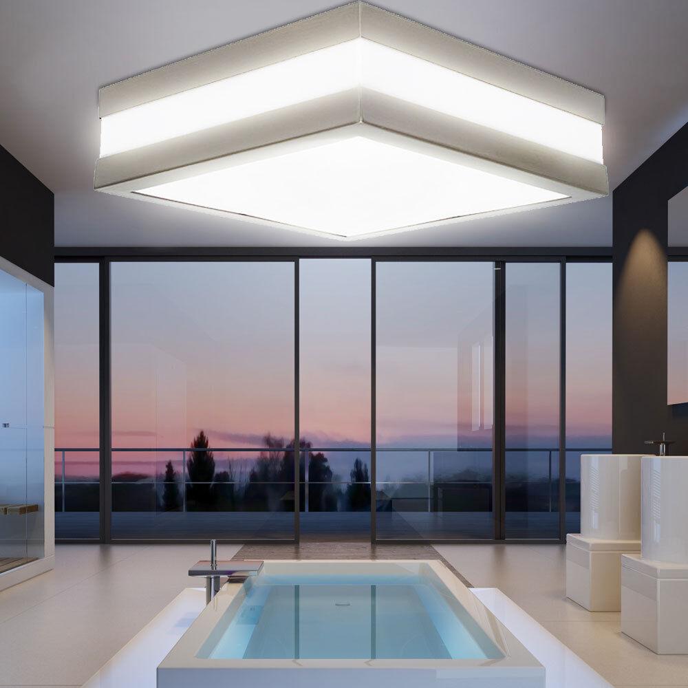 Éclairage plafonnier jardin terrasse maison chrome luminaire carré IP44 couloir