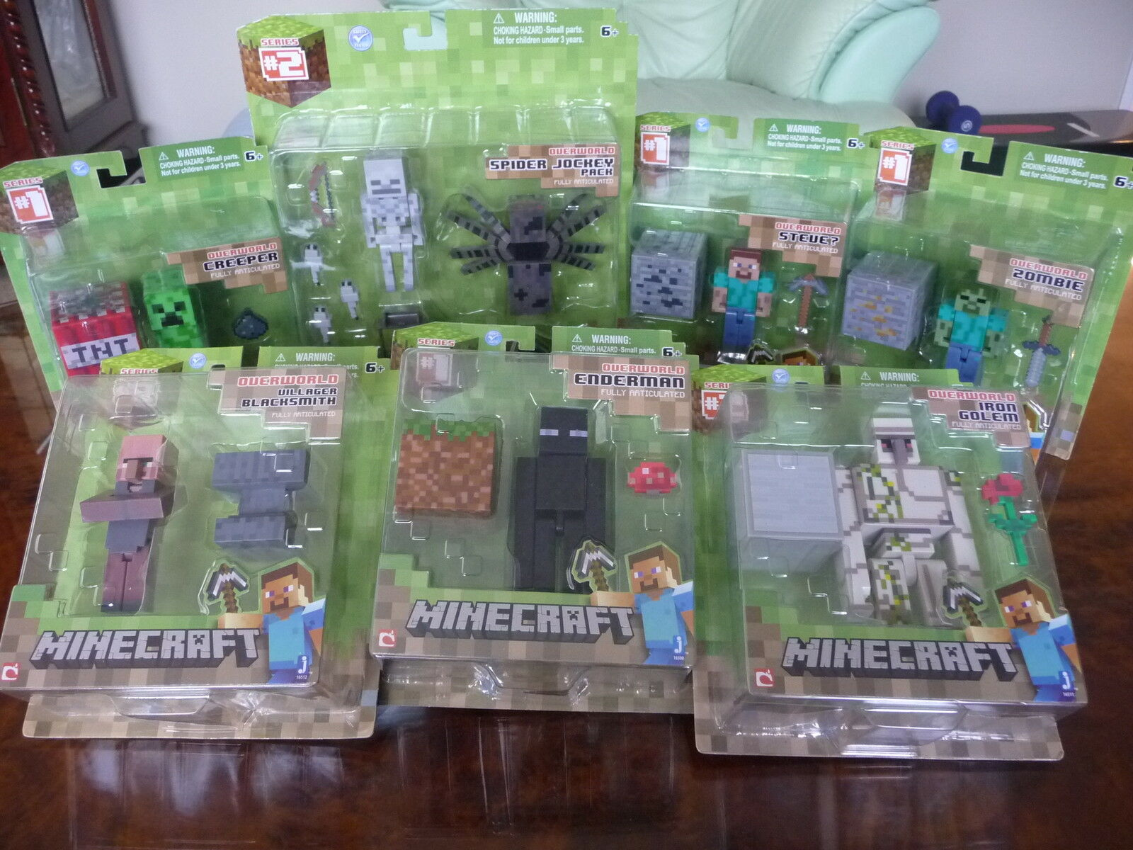 Lot of 7 Minecraft Figures w  Accessories  Series 1 & 2