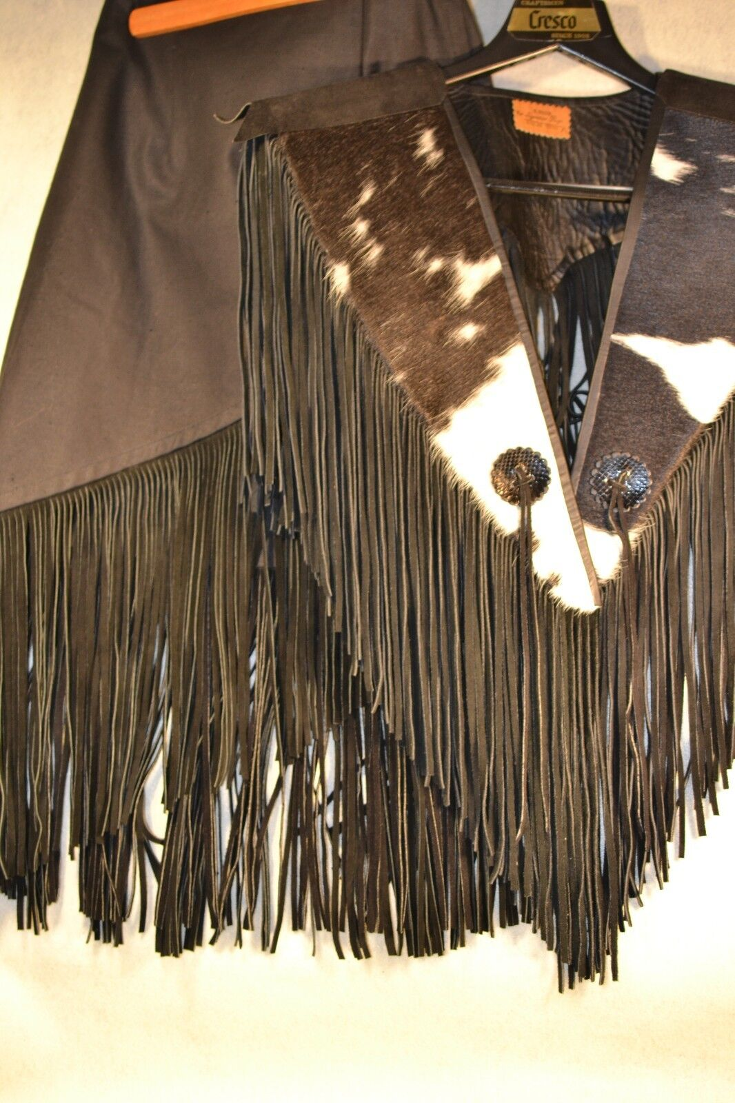 COWHIDE CAPE & WRAP SKIRT 2 PIECE FRINGED S. HYDE WESTERN WEAR   SZ XS   clo103