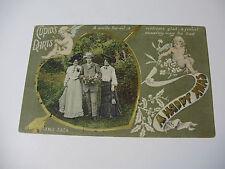 Lot180v - CUPID'S DARTS Man With 2 Ladies HAPPY CHRISTMAS POSTCARD
