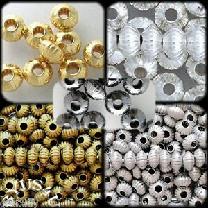 SAUCER-RONDELLE-SPACER-BEADS-5x3mm-CORRUGATED-50pc