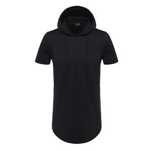 Mens-Hipster-Hip-Hop-Longline-Pullover-Short-Sleeve-Hoodies-Shirts