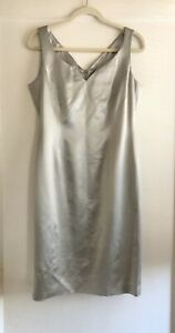 Escada-Couture-Silver-Wool-Silk-Holiday-Evening-Cocktail-Dress-Size-40-8-10