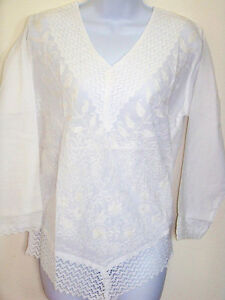 White-Cotton-Embroidered-Tunic-Top-Kurti-Lace-V-Neck-from-India