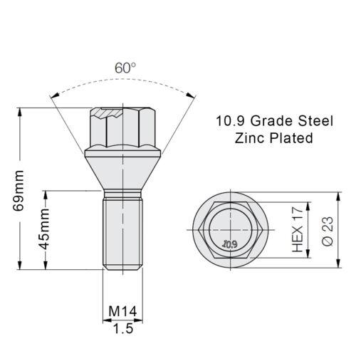 BULLONI RUOTA IN LEGA PER AUTO M14x1.5 45mm Extended filettatura Rastremazione Per MERCEDES x 20