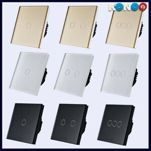 konoq luxury glass panel touch led light smart switches. Black Bedroom Furniture Sets. Home Design Ideas