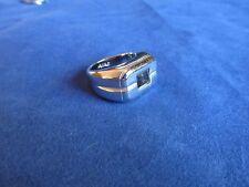 Mens Boys White Gold Plated Crystal Amethyst Fashion Ring Sz 9