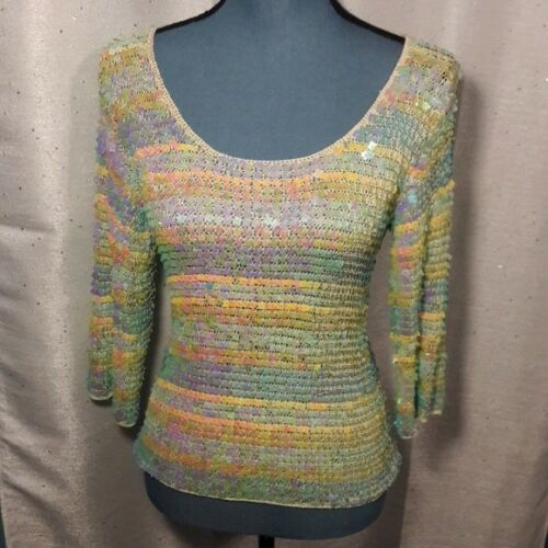 70s Inspired Women's Pastel Sequined Crocheted Top