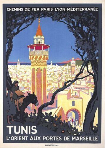 Vintage French Tunisia Tunis Tourism Poster   A3 Print