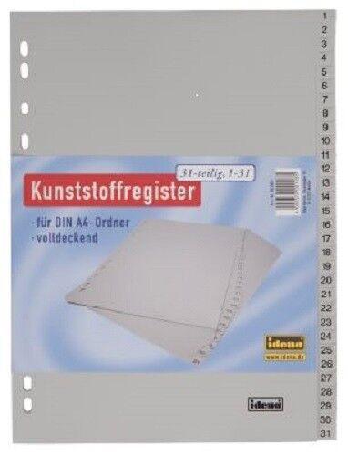 Idena Register Kunstoffregister 31 teilig Ordner A4 Zahlenregister 1-31