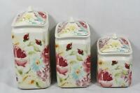 222 Fifth Floral Fete Porcelain Floral Three Piece Canister Set / Lids
