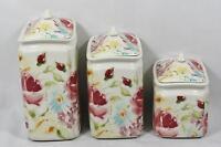 222 Fifth Floral Fete Porcelain Floral Three Piece Canister Set / Lids