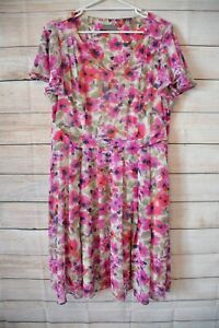 Jackie-E-Dress-Skater-Shift-Size-18-XXL-Purple-Pink-White-Floral-Short-sleeve