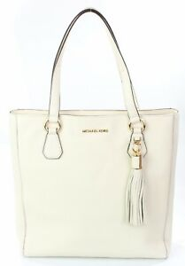 626fae711d6e Michael Kors Bedford Leather Ecru Cream Ivory Shopper Tote Bag Large ...