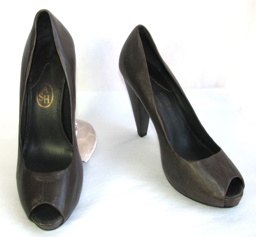 ASH Escarpins talons 11 cm + plateau bouts ouverts cuir gris 41 EXCELLENT ETAT
