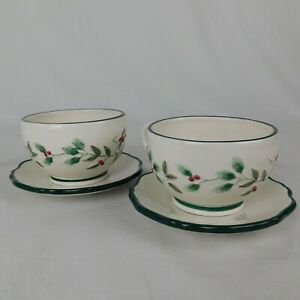 Pfaltzgraff Winterberry Cup Saucer Set of 2 Christmas Holiday Holly Berries