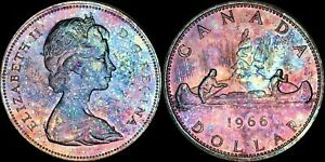 1966-CANADA-ELIZABETH-II-SILVER-DOLLAR-HIGH-QUALITY-COLOR-TONED-COIN