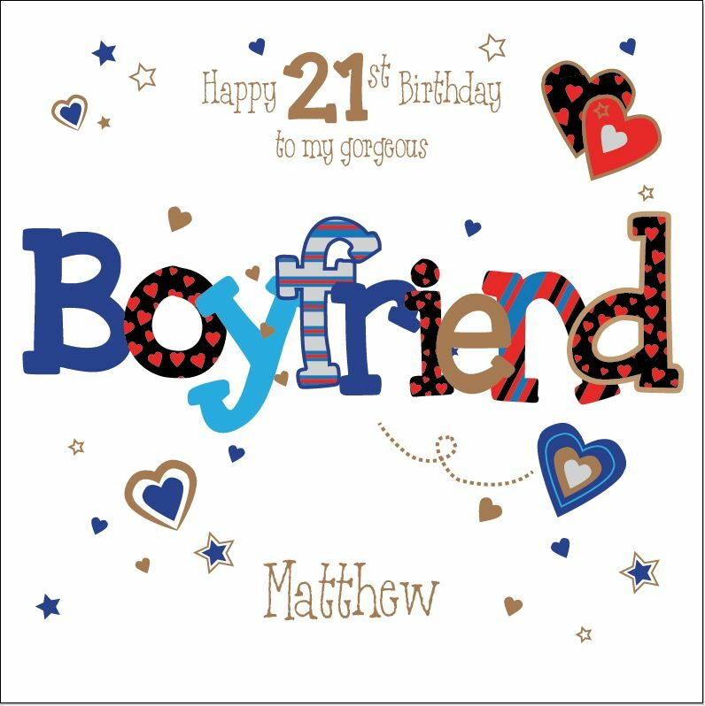 Personalised 21st Birthday Card Boyfriend Husband Any Age Name Message