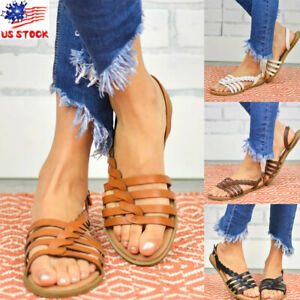 Womens-Summer-Braided-Flat-Flip-Flop-Sandals-Thong-Gladiator-Faux-Leather-Shoes