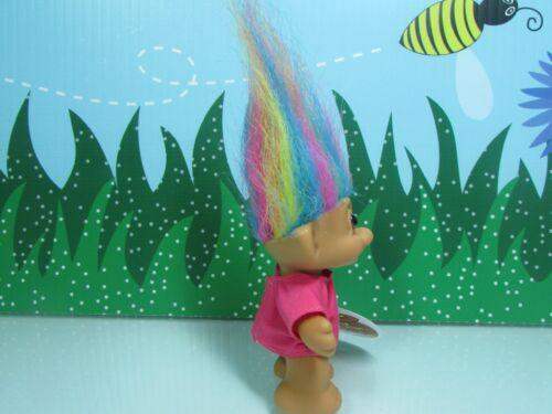 "3/"" Russ Troll Doll NEW WITHOUT HANG TAG LUCKY BINGO TROLL w//RAINBOW HAIR"