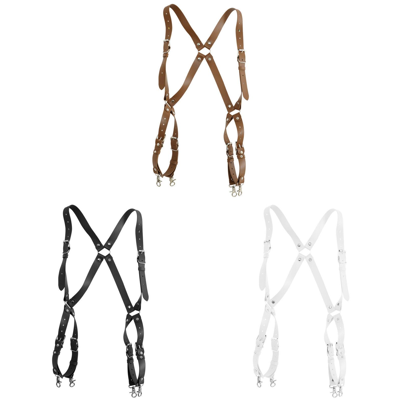 New Men Punk Leather Suspenders Adjustable Buckle Rivets O-rings Shoulder Straps