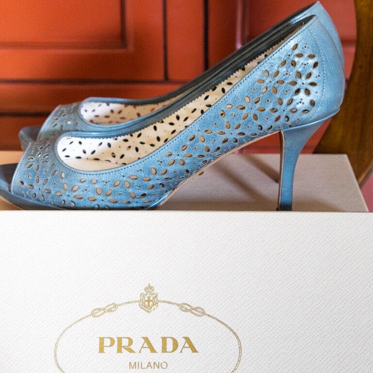 Prada   talla 38     peep-toes   azul   Made in   Compra calidad 100% autentica