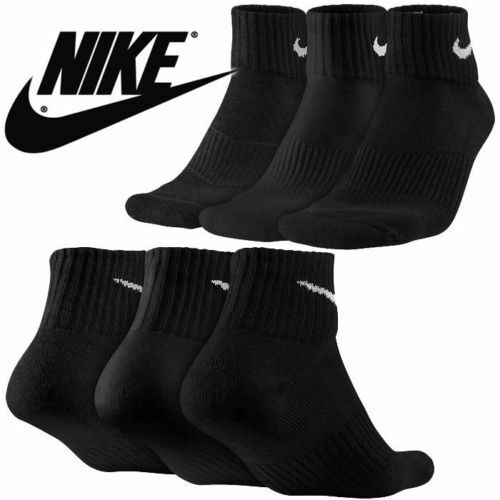 4a734be2261a 6 Pair Nike Quarter Crew Socks Black Cushioned Athletic Running Tennis  Sx5177 MD L for sale online