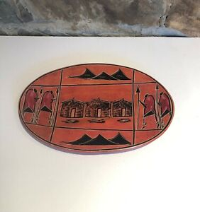 Hand Carved and Painted Oval Burnt Orange Soapstone Dish (26cms x 18cms)