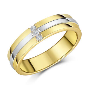 034-SALE-034-9ct-Two-Coloured-Gold-Ring-Diamond-Wedding-5mm-Band
