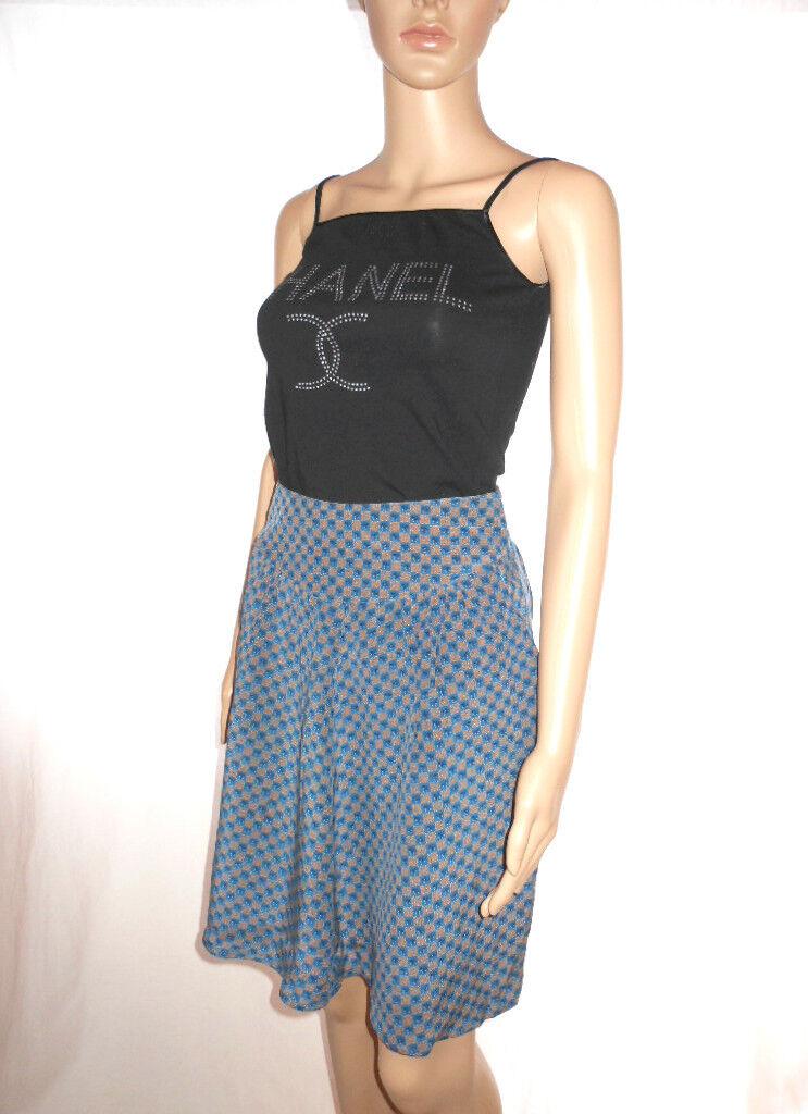 Italian Designer Womens Vtg 70 Multi Print Business Casual Office Skirt sz S AF8