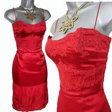 Karen Millen  Red Silk & Lace Strapless (Straps) Prom Cocktail Dress size 12