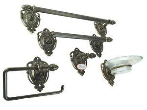 Accessori Bagno Ottone Anticato.Set Da Bagno Ottone Brunito In Stile Impero Kit Ottone Accessori Bagni 5 Pz Wc20 Ebay