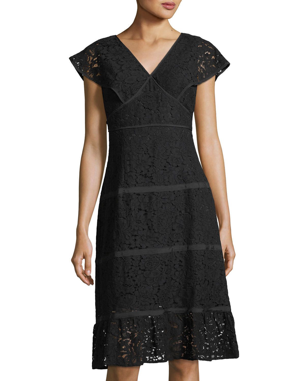 NWT NANETTE NANETTE LEPORE Sz8 CAP SLEEVE FLOUNCE HEM SHEATH LACE DRESS BLA