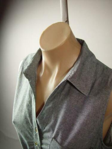 Gray Chambray Cotton Red Bow Belt 50s Spring Summer Casual Shirt 278 df Dress M