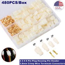 480pcs 28mm Crimp Wire Terminals Connectors 2 3 4 6 Pin Plug Housing Pin Header